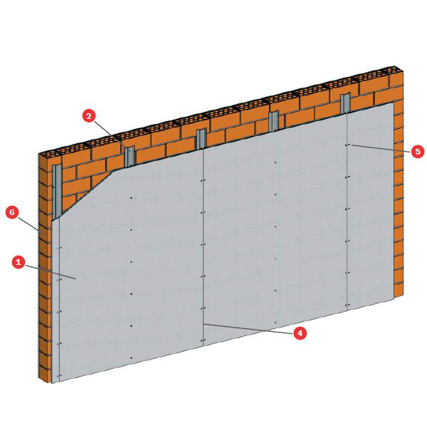 Trasdosado sobre ladrillo cerámico Tecbor® A 12 EI-240